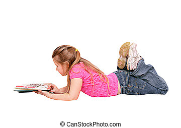 girl lying down reading