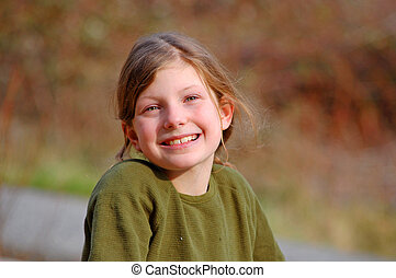 Young Caucasian Girl Smiling