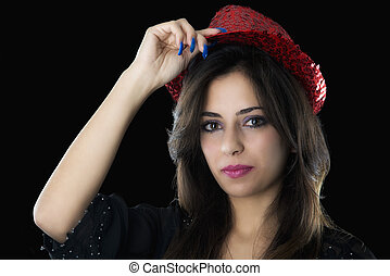 young caucasian girl with red hat