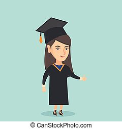Young caucasian graduate giving thumb up.