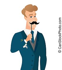 Young caucasian groom with a fake mustache. - Young...