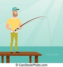 Young caucasian man fishing on jetty.