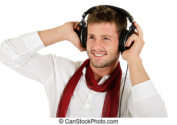Young caucasian man, music listening