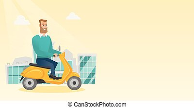 Young caucasian man riding a scooter.