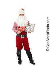 Young caucasian man Santa Claus, gifts