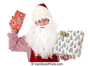 Young caucasian man Santa Claus, gifts