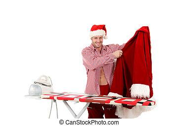Young caucasian man, Santa Claus