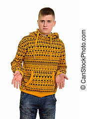 Young Caucasian man shrugging shoulders looking confused