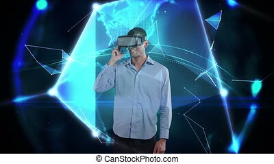 Animation of Caucasian man wearing Vr headset over web of connections with globe spinning. Global economy and technology concept digital composite