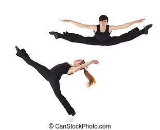 Modern Jazz dancers - Young caucasian Modern Jazz dancers in...