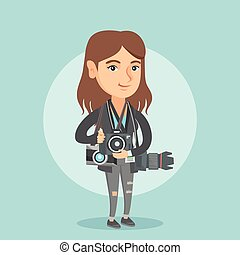 Young caucasian photographer with photo cameras. - Young...
