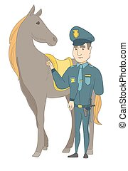 Young caucasian police officer and horse.