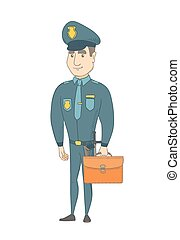 Young caucasian policeman holding a briefcase.