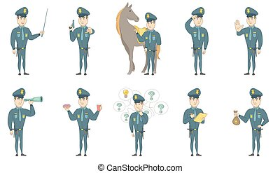 Young caucasian policeman vector illustrations set - Young...