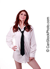 Redhead Woman in White Men's Shirt and Tie