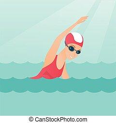 Young caucasian sportswoman swimming. - Young caucasian...