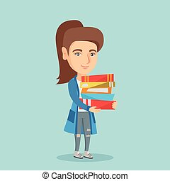 Young caucasian student holding pile of books.
