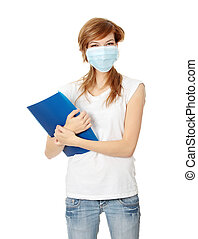 Young caucasian student woman in mask