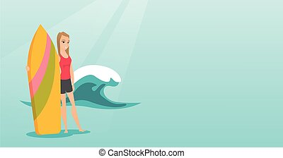 Young caucasian surfer holding a surfboard.
