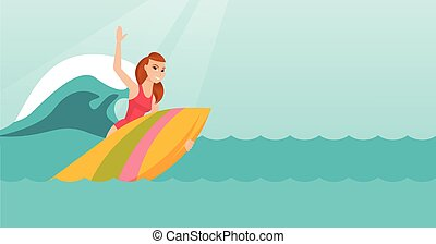 Young caucasian surfer in action on a surfboard.