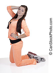 Young Caucasian Teen Girl Kneeling Exercise Outfit