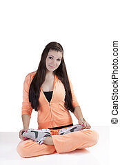 Young Caucasian Teen Girl Sitting Exercise Outfit