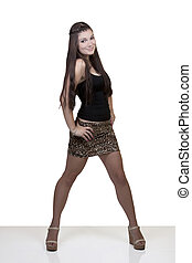 Young Caucasian Teen Girl Skirt and Top