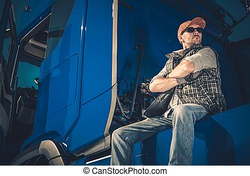 Young Caucasian Truck Driver