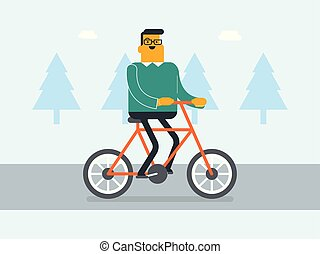 Young caucasian white businessman riding a bike.