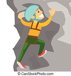 Young caucasian white man climbing on a rock.