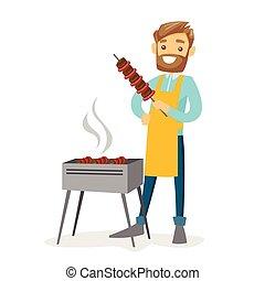 Young caucasian white man cooking shashlik. - Young cheerful...