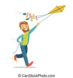 Young caucasian white man flying a kite.