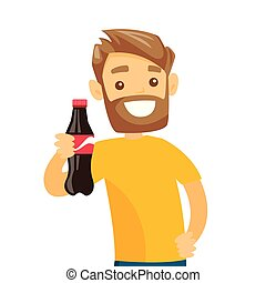Young caucasian white man holding bottle of soda.
