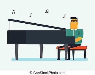 Young caucasian white man playing piano.
