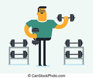 Young caucasian white sportsman lifting a dumbbell