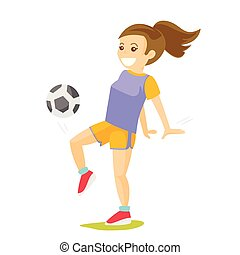 Young caucasian white woman playing football.