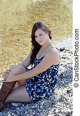 Young Caucasian Woman Blue Dress River Plump