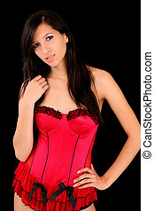 Young caucasian woman dark hair red corset