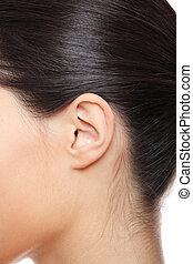 Young caucasian woman ear closeup.