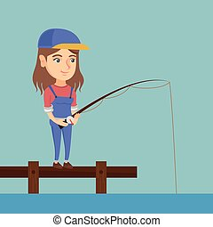 Young caucasian woman fishing on jetty.