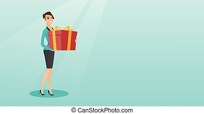 Young caucasian woman holding box with gift.