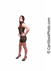 Young caucasian woman in short dress hands on hips