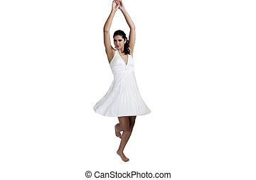 Young caucasian woman in white dress twirling