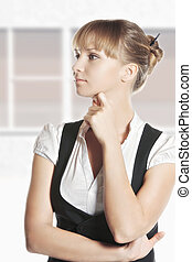 Young caucasian woman looking sideways