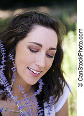 Young Caucasian Woman Outdoor Portrait Looking Down