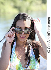 Young Caucasian Woman Outdoors Sunglasses Bikini Top