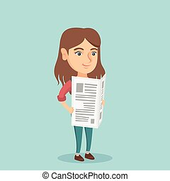 Young caucasian woman reading a newspaper. - Young caucasian...