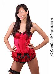 Young caucasian woman red corset black garter