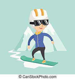 Young caucasian woman snowboarding.