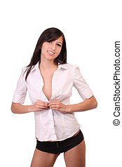 Young caucasian woman unbuttoning white shirt